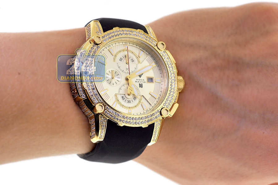 mens diamond watch aqua master nicky jam 5 00 ct yellow gold