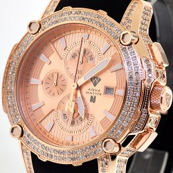 Mens Diamond Watch Aqua Master Nicky Jam 5.00 ct Rose Gold
