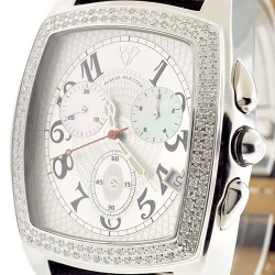 Mens Diamond Watch Aqua Master Square 1.50 ct Silver Dial