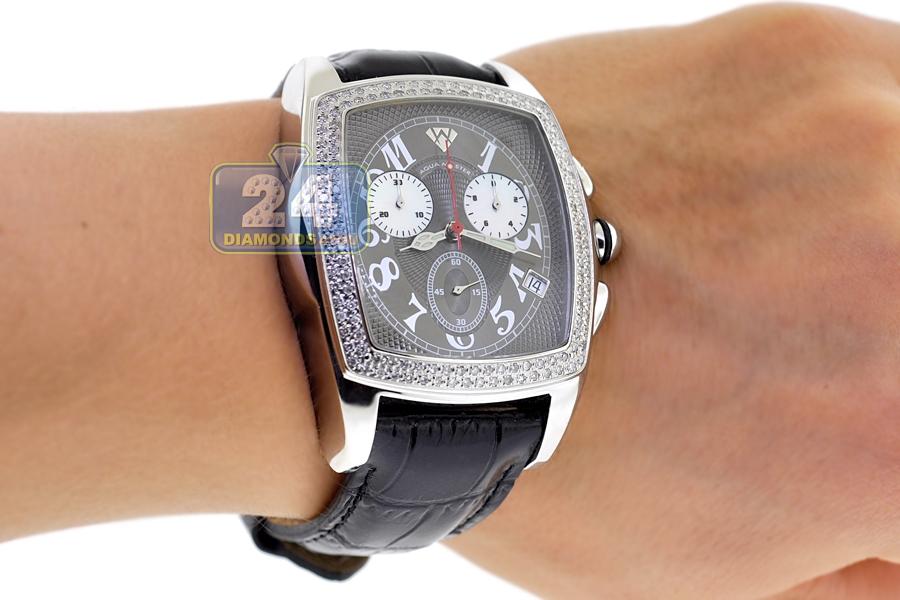 Surprising Mens Diamond Watch Aqua Master Square 1 50 Ct Gray Dial Hairstyles For Men Maxibearus