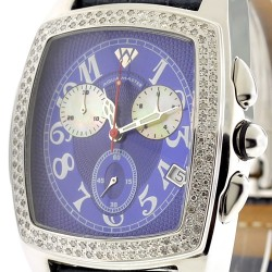 Mens Diamond Watch Aqua Master Square 1.50 ct Blue Dial