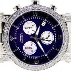 Womens Diamond Watch Aqua Master Round 1.75 ct Blue Dial