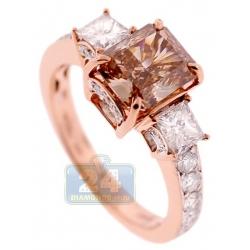 GIA 18K Rose Gold 3.00 ct Fancy Brown Diamond Womens Ring