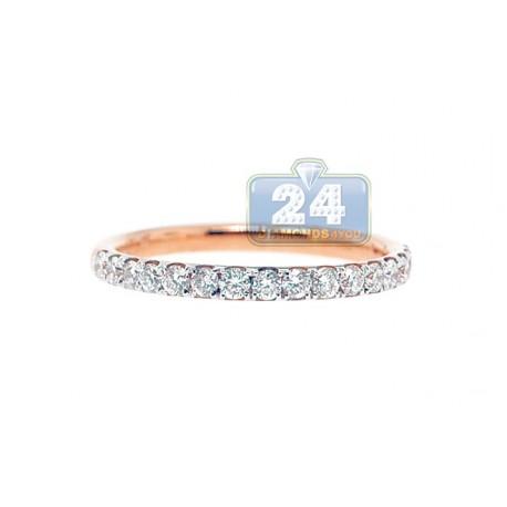 18K Rose Gold 0.60 ct Diamond Womens Band Ring