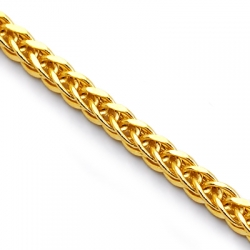 10K Yellow Gold Hollow Square Wheat Mens Chain 2.2 mm