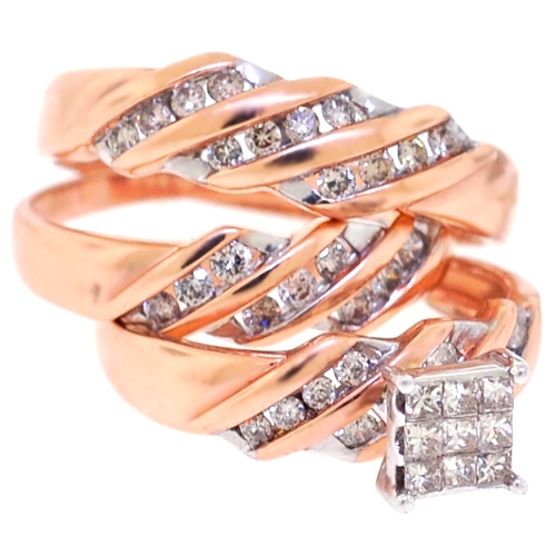 14k rose gold 067 ct diamond his hers 3 wedding rings set - Rose Gold Wedding Ring Set