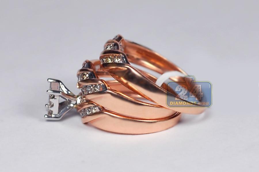 14K Rose Gold 0 67 ct Diamond His Hers 3 Wedding Rings Set