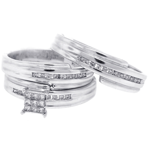 14k white gold 030 ct diamond bride groom 3 wedding rings set - White Gold Wedding Rings Sets