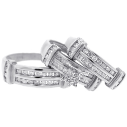14K White Gold 1.34 ct Diamond Mens Womens Wedding Rings Set