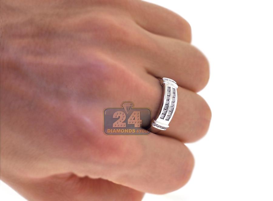 14k white gold 134 ct diamond mens womens wedding rings set - Wedding Ring Set For Women
