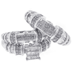 14K White Gold 2.63 ct Diamond Womens Mens Wedding 3-Ring Set