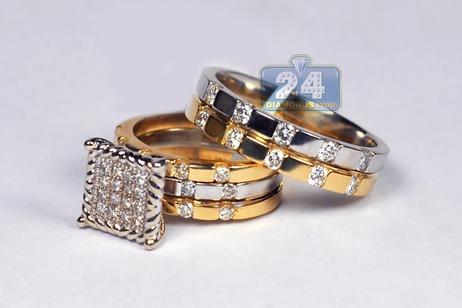 10k two tone gold 165 ct diamond his hers wedding 3 rings set - His Hers Wedding Rings