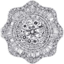 18K White Gold 2.23 ct Diamond Womens Cluster Ring