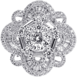 18K White Gold 2.41 ct Diamond Womens Cluster Ring