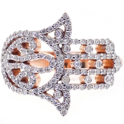 18K Rose Gold 0.58 ct Diamond Hamsa Hand Womens Ring