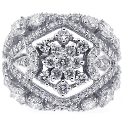 18K White Gold 4.28 ct Diamond Womens Floral Ring
