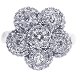 18K White Gold 1.21 ct Diamond Flower Womens Cluster Ring
