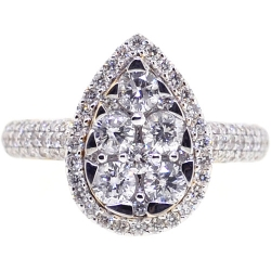 14K Yellow Gold 1.33 ct Diamond Womens Pear Shaped Ring