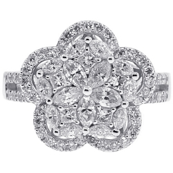 18K White Gold 1.51 ct Diamond Womens Flower Ring