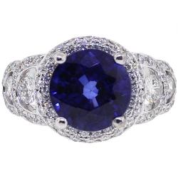 18K White Gold 4.62 ct Blue Sapphire Diamond Womens Ring