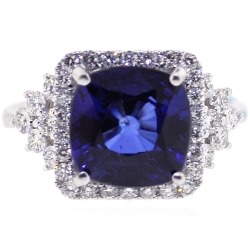 18K White Gold 6.08 ct Blue Sapphire Diamond Womens Ring