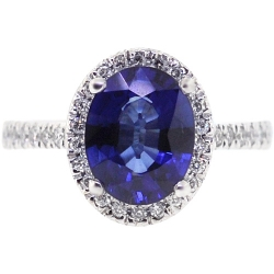 14K White Gold 5.95 ct Blue Sapphire Diamond Womens Ring