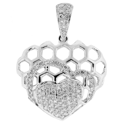 18K White Gold 0.72 ct Diamond Filigree Heart Womens Pendant