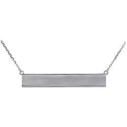 18K White Gold Engravable ID Womens Necklace 18 Inches