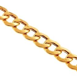 10K Yellow Gold Flat Cuban Hollow Link Mens Chain 7 mm