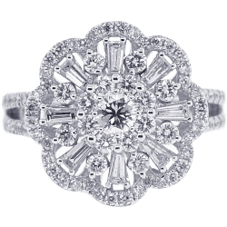 18K White Gold 1.50 ct Diamond Womens Flower Ring