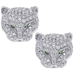 18K White Gold 1.10 ct Diamond Panther Head Womens Stud Earrings