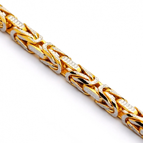 14K Yellow Gold Byzantine Diamond Cut Link Mens Chain 3.5 mm