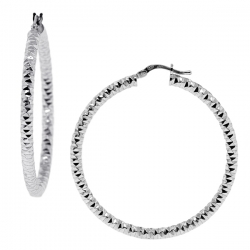 Italian Sterling Silver Diamond Cut Round Hoops Womens Earrings 3 mm