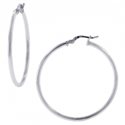 925 Sterling Silver Smooth Round Womens Hoop Earrings 2 mm