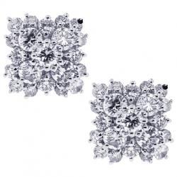18K White Gold 0.90 ct Diamond Cluster Womens Stud Earrings