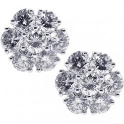 18K White Gold 1.63 ct Diamond Flower Womens Stud Earrings 8 mm