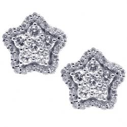 18K White Gold 0.91 ct Diamond Cluster Star Womens Stud Earrings