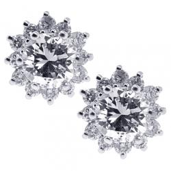18K White Gold 0.95 ct Diamond Studs Womens Flower Earrings
