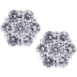 18K White Gold 0.80 ct Diamond Cluster Studs Womens Earrings