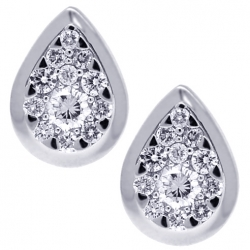 18K White Gold 0.70 ct Diamond Pear Shaped Cluster Womens Studs