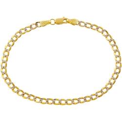 10K Yellow Gold Diamond Cut Cuban Link Womens Bracelet 3 mm 7 Inches