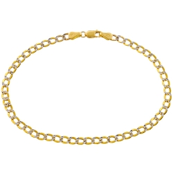 10K Yellow Gold Diamond Cut Cuban Link Mens Bracelet 3.5 mm 8 Inches
