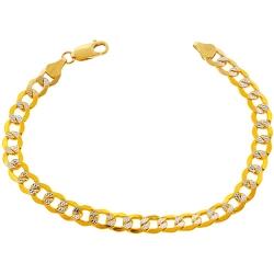 10K Yellow Gold Cuban Diamond Cut Mens Bracelet 7 mm 8.5 Inches