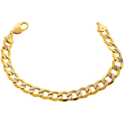 10K Yellow Gold Diamond Cut Cuban Link Mens Bracelet 11 mm 9 Inches