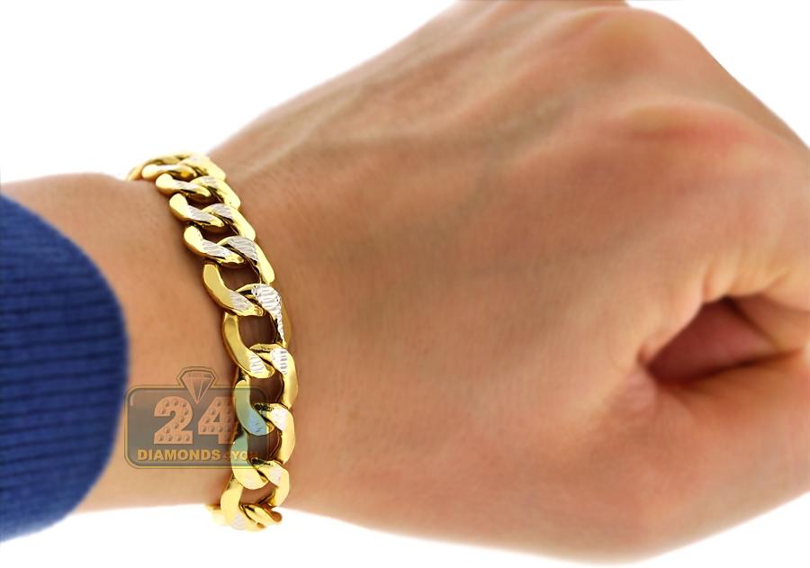10k yellow gold diamond cut cuban mens bracelet 11 mm 9 inches