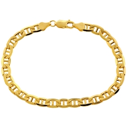 10K Yellow Gold Mariner Link Mens Bracelet 6 mm 8.5 Inches