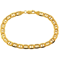10K Yellow Gold Mariner Link Mens Bracelet 7 mm 8.5 Inches