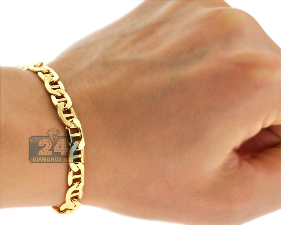 10k yellow gold anchor link mens bracelet 7 mm 8 5 inches