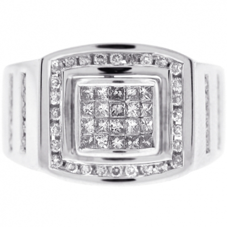 14K White Gold 1.01 ct Princess Diamond Mens Pinky Ring