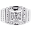Mens Diamond Pinky Ring 14K White Gold 1.01 ct Princess Cut